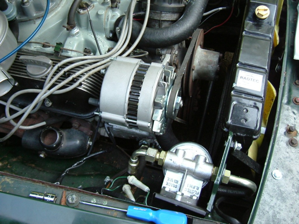 Uprated Alternator Fitted (Courtessy of Just MGB.com) to aid cooling in heavy traffic